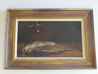 Antique 19Th - 20Th Century Painting Still Life Fresh Fish Realism Signed Fabien