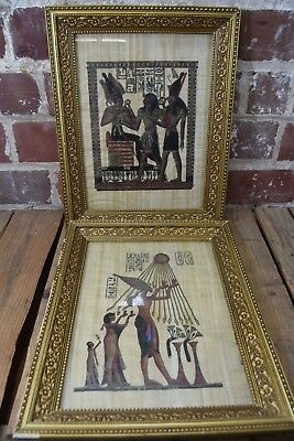 Pair of Hand Painted Ancient Egyptian Art on Papyrus: Ra and Pharaohs Hieroglyph