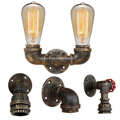 Industrial Iron Water Pipe Wall Light Vintage Steampunk Sconce Light Fixture