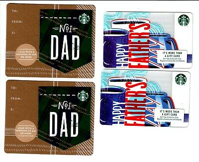 STARBUCKS Cards 2018 Happy Father's Day mini and card lot of 4 mint NEW