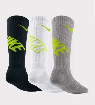 Nike 3 Pairs Size 5Y-7Y Youth Kids Cushioned Cotton Crew Socks Sx4715 972 New