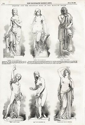 OLD ANTIQUE 1856 PRINT STATUES FOR THE EGYPTIAN HALL IN THE MANSION HOUSE b30