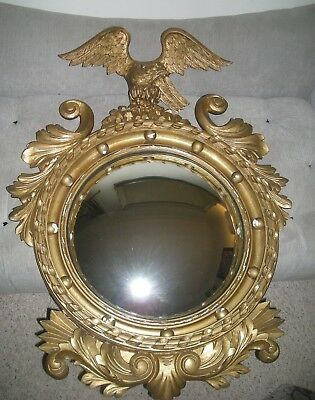 "Federal Period 38"" Convex ""Bulls-eye"" Mirror with Carved Eagle"