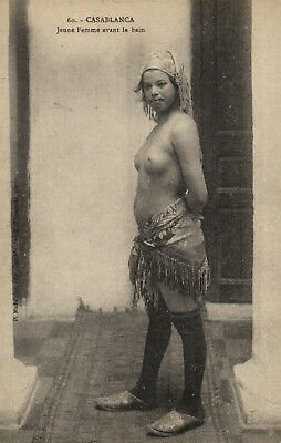 PC ETHNIC NUDE FEMALE TYPE, MOROCCO Vintage Postcard (b5452)