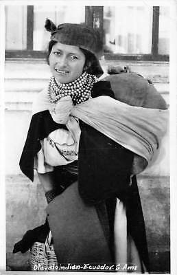 ECUADOR, OTAVALO INDIAN WOMAN WITH JEWELRY & BACKPACK, REAL PHOTO PC used 1965