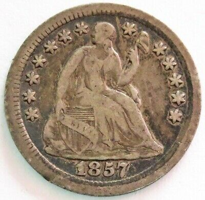 1857 O Silver United States Seated Liberty Half Dime Coin Very Fine Condition