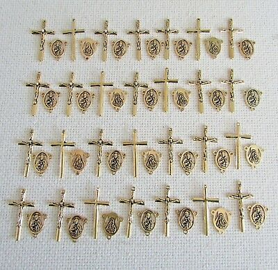 Lot 56 Rosary Center & Crucifixes crosses rosaries parts Antique GOLD New