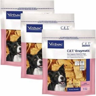 CET Enzymatic Oral Hygiene Chews for Large Dogs 26-50 Pounds 3 bags (90 Chews)