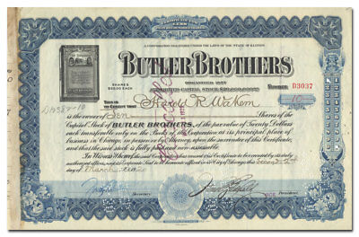 Butler Brothers Stock Certificate (Chicago Catalog Company, Great Vignette)