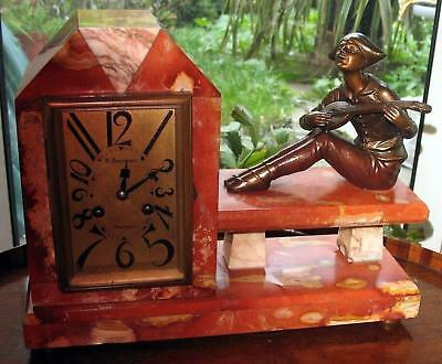 Art Deco Clocks a good Pierrot musician 8-Day Striker Mantle Clock C.1920's