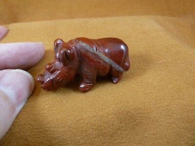 (Y-RHI-568) red jasper RHINO rhinoceros gemstone FIGURINE carving I love rhinos