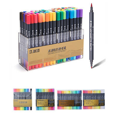 STA Water Based Ink Sketch Marker Pens Twin Tip Fine Brush Pen For Graphic DraZ9