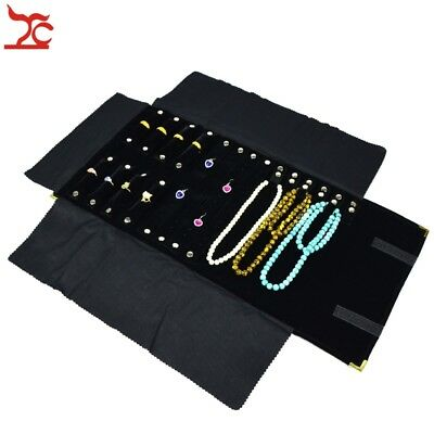 Portable  Jewelry Organizer Storage Travel Roll Display Black Velvet Pouch Bag