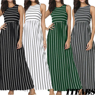 Fashion Women's Summer Sleeveless Striped Pockets Flowy Casual Long Maxi Dress