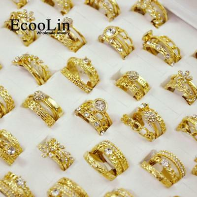 15Pcs 5Set 3 in 1 New Zircon Gold Plated Rings Sets For Lady Wholesale Jewelry C