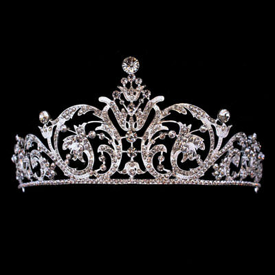 Crystal Tiara Headband Wedding Party Bridal Prom Crown Princess Headband Silver