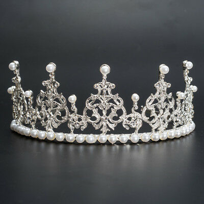 Princess Bridal Wedding Prom Headband Crystal Rhinestone Party Pearl Tiara Crown