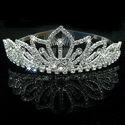 Wedding Bridal Diamante Crystal Headband Princess Hair Comb Tiara Party Crown UK