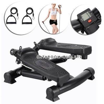 Mini Stepper Air Stair Climber Swing Exercise Machine Aerobic Fitness Band Cords