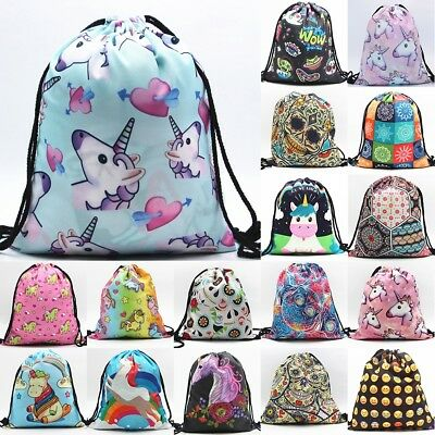 Drawstring Gym Bags School Library Swimming Travel Kids PE Sports Shoes Backpack