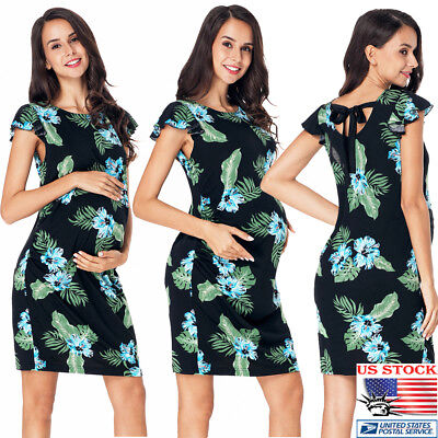 Women's Floral Ruffle Mini Sundress Maternity Strappy Summer Beach Nursing Dress