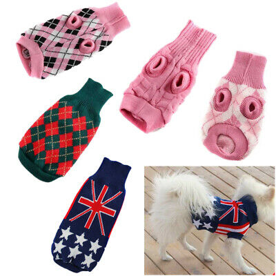 Small Pet Dog Puppy Cat Sweater Clothes Warm Knit Coat Jacket Outwear Clothing
