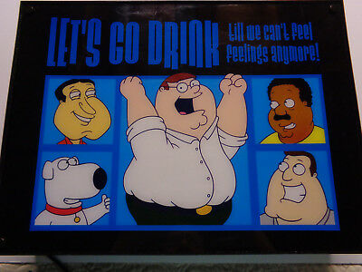 Family Guy Lighted Beer Sign Peter Griffin Brian Glenn Joe Cleveland Man Cave