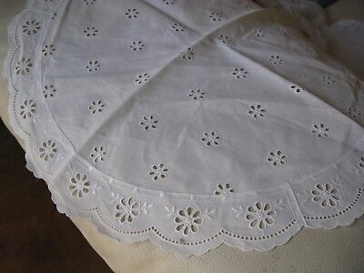 """Antique White Work Eyelet Embroidery Lace French Doll Craft Cotton Runner 16"""""""