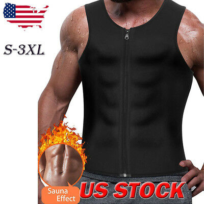 US Men's Slimming Neoprene Vest Sweat Shirt Body Shaper Waist Trainer Shapewear