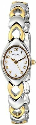 New Luxury Bulova Womens Mother Of Pearl Dial Two-Toned Bracelet Wrist Watch