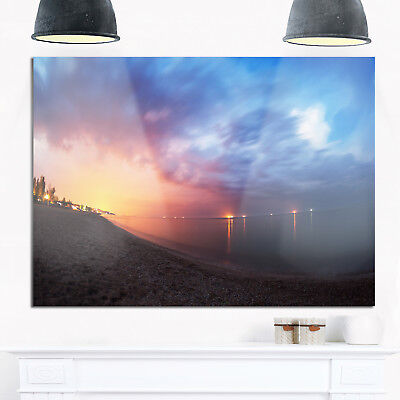 Summer Night with Blue Sky - Skyline Photography Glossy Metal Wall Art