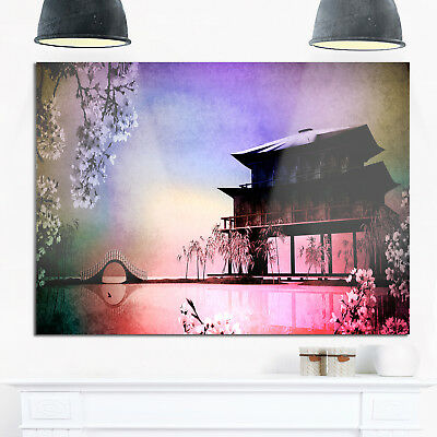 Rural Landscape with Flowers - Landscape Painting Glossy Metal Wall Art