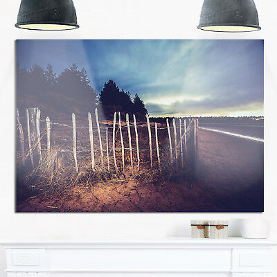 Old Fence on Beach at Sunset - Landscape Glossy Metal Wall Green