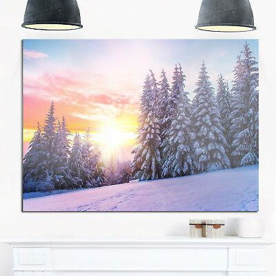 Winter Sunset in Bulgaria - Landscape Photo Glossy Metal Blue