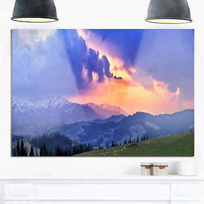 Sunny Spring Evening Panorama - Oversized Landscape Glossy Metal Wall Art