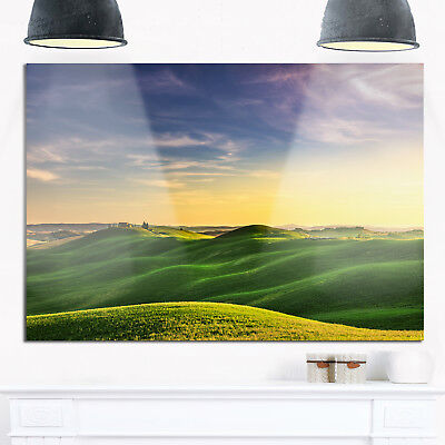 Green Rural Rolling Hills Tuscany - Oversized Landscape Glossy Metal Wall Art