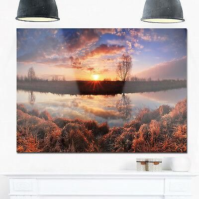 Sunrise Above Spring River - Landscape Photo Glossy Metal Wall Art