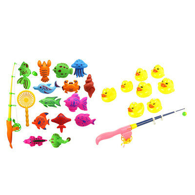 2set Baby Bath Water Magnetic Fishing Toy Fish Duck Net Pole Kid Fish Toys