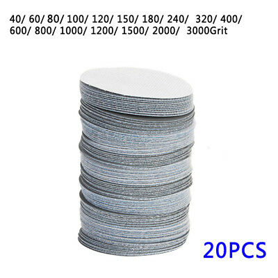 "20Pcs 3"" 75mm Mixed Polishing Sanding 40-3000 Grit Paper Sander Disk Pads Tool F"