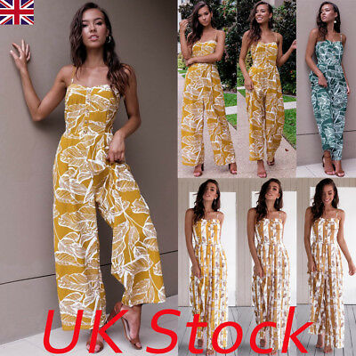 UK Boho Womens Floral Holiday Long Playsuits Dress Beach Jumpsuit 6-16 Plus Size