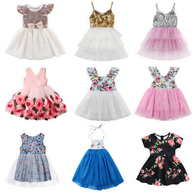 AU Princess Kids Baby Girls Dress Party Wedding Dress Tulle Tutu Dresses