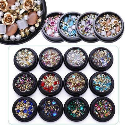 Nail Rhinestones Glitter Gems Crafts Studs 3D Nail Art Decoration Manicure DIY