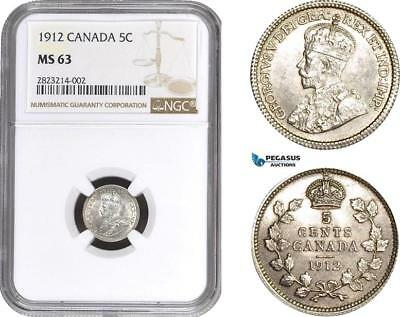 AC219, Canada, George V, 5 Cents 1912, Silver, NGC MS63