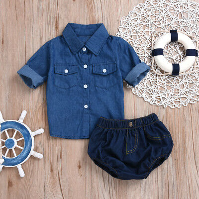 2pcs Toddler Kids Baby Girls Denim Shirt+Pants Jeans Summer Outfits Clothes Set
