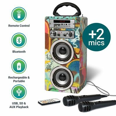 Pure Acoustics Bluetooth MP3 Speaker Portable Karaoke Machine Mic & FM Radio