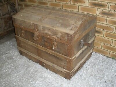 Antique Dome Top Steamer / Travel Trunk, PU nth Brissy