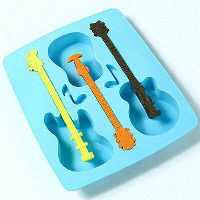 Blue Silicone Guitar Shaped Cube Trays Ice Candy Mold Mould Maker Kitchen 3 Ball