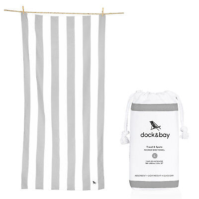 Striped Beach Towel - Compact, Quick Dry & Sand Free - Large & XL - Grey