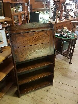 Antique Arts and Crafts Oak Students Bureau Fitted Interior 25 inch