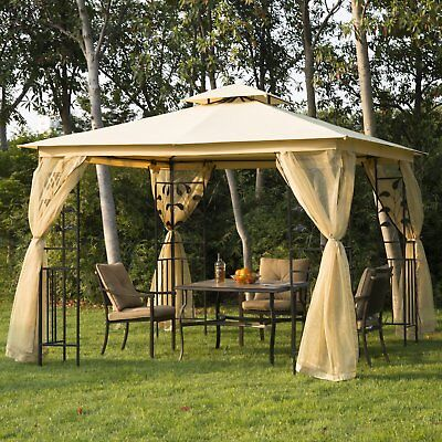 10'x10' Gazebo Canopy Outdoor Patio Sun Shelter UV Protect w/ Mosquito Net